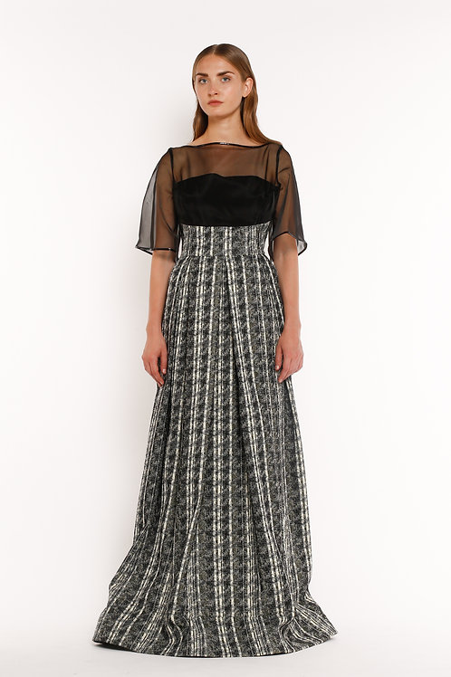 Textured Gown with Sheer Top