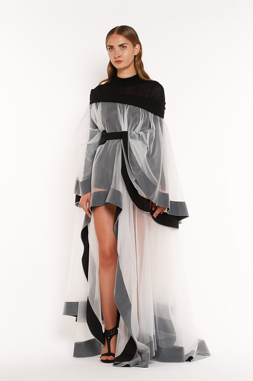 Transparent Black and White Chiton Band Dress