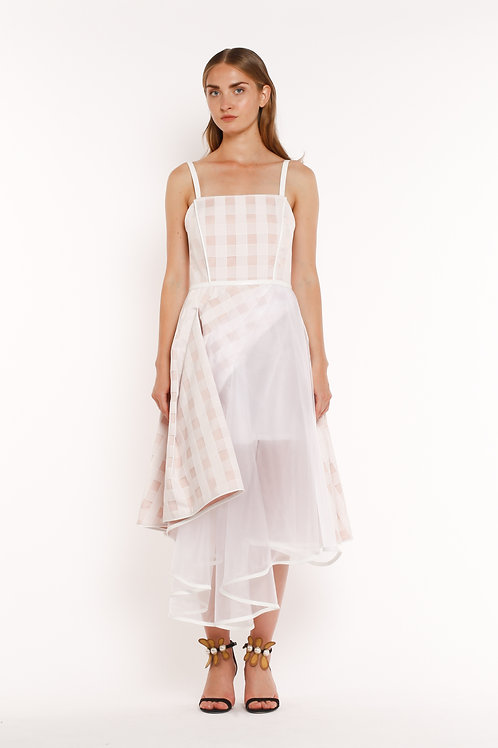 Pink and White Checked Short Dress