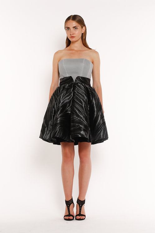 Short Strapless Gray and Black Dress