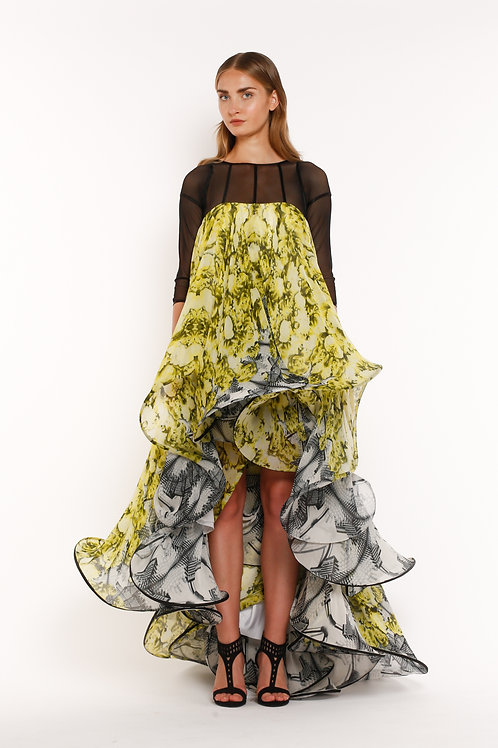 Yellow Printed High Low Dress with Transparent Top