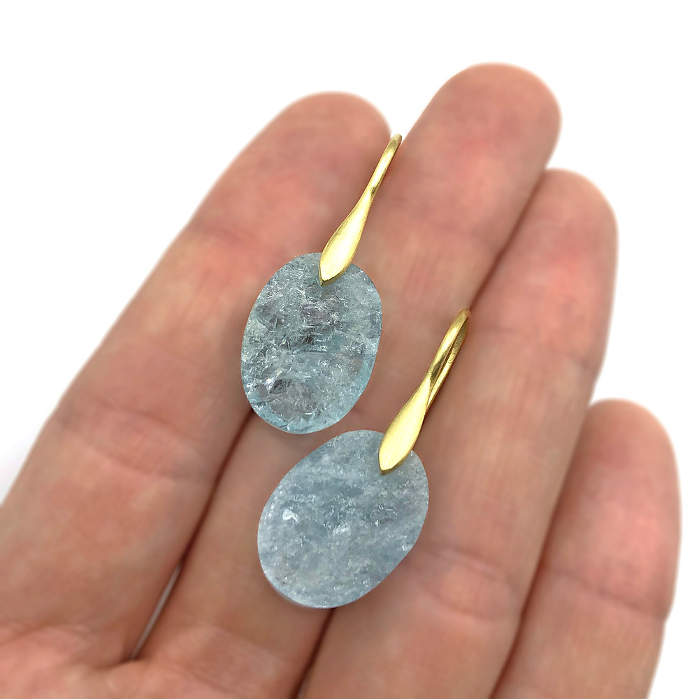 Raw Aquamarine Oval Earrings | 18k Yellow Gold