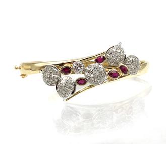 Custom Ruby and Diamond Leaf Bracelet