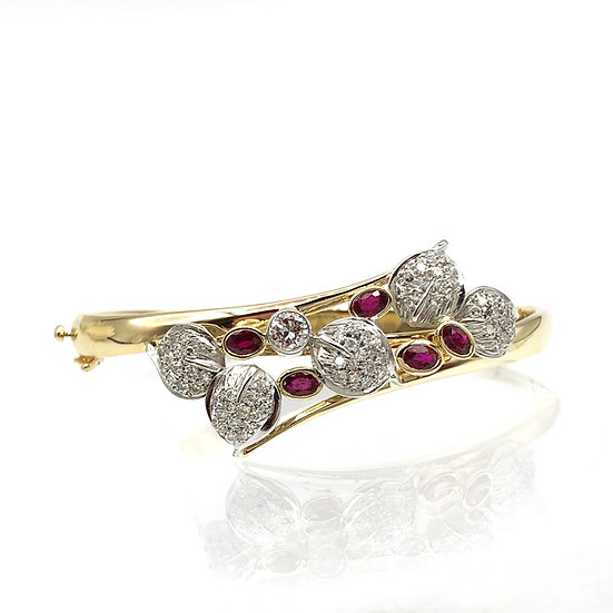 Diamond and Ruby Cuff Bracelet Using Heirloom Diamond Pavé Leaves and Diamond