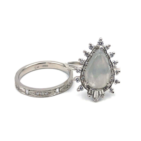 Custom Gray Rose Cut Sapphire Engagement Ring and Deco-Inspired Platinum Diamond Wedding Band