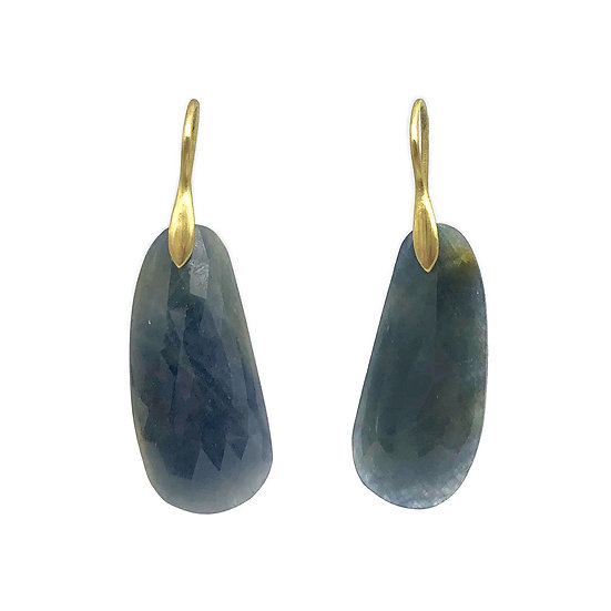Sapphire Rose-Cut Slice Earrings in 18k Recycled Yellow Gold