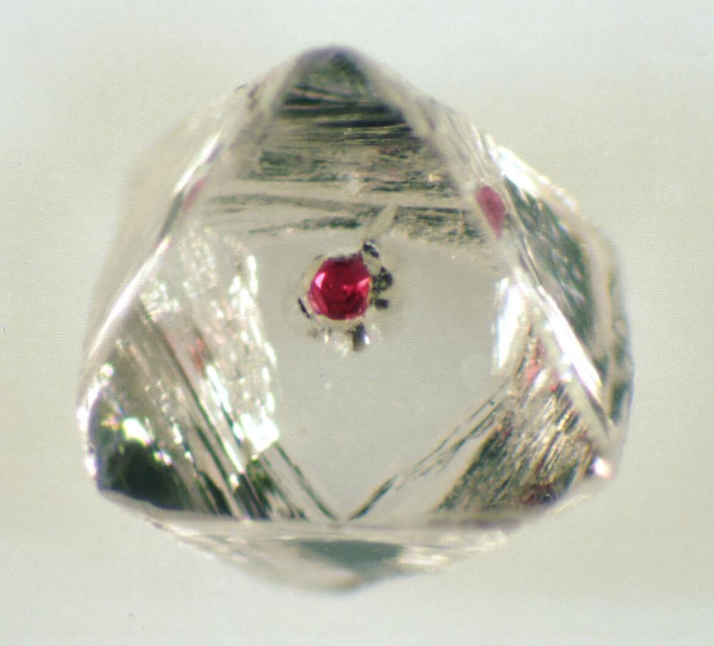 Garnet Inclusion Inside Diamond Octahedron