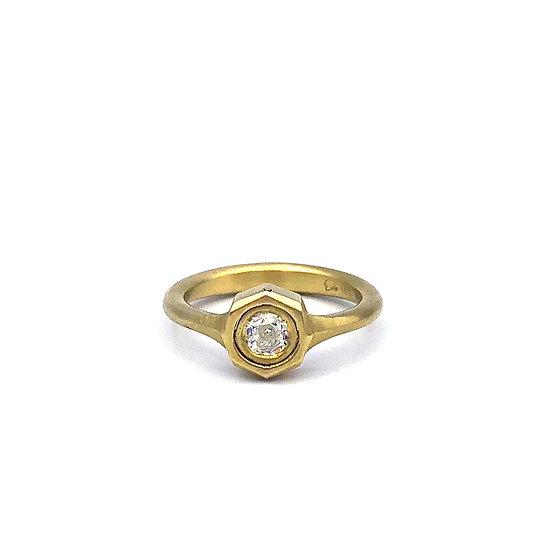 Gemini Hex Ring | Rose Nouveau Diamond Ring | 18k Yellow Gold