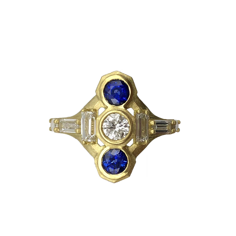 Engagement Ring Redesign by Original Eve Designs in 18k yellow gold, diamonds, and sapphires