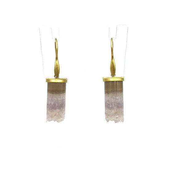 Shattered Crystal Column Earrings | 18k Yellow Gold