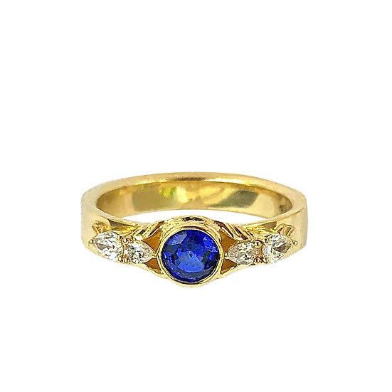 Bespoke Wedding Bands with Fluid Motif, Sapphire and Diamond Bird Ring