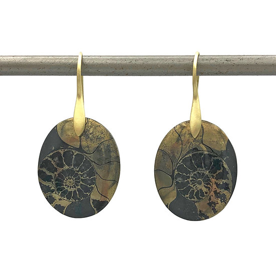 Pyritized Ammonite Earrings | 18k Yellow Gold