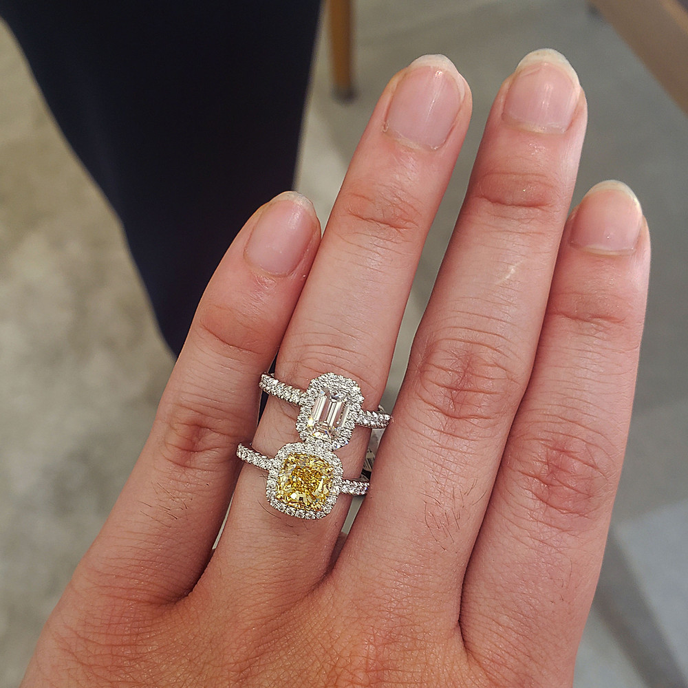 De Beers diamond ring and yellow diamond ring