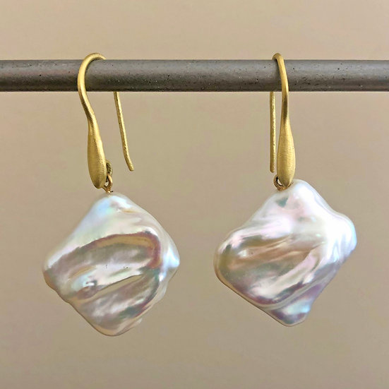 Freshwater Baroque Pearl Rectangle Earrings in 18k Recycled Yellow Gold