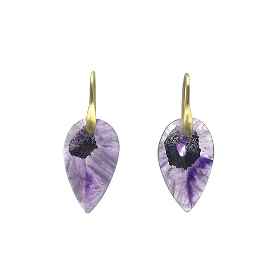 Pear-Shaped Natural Amethyst Formation Earrings in 18k Recycled Yellow Gold