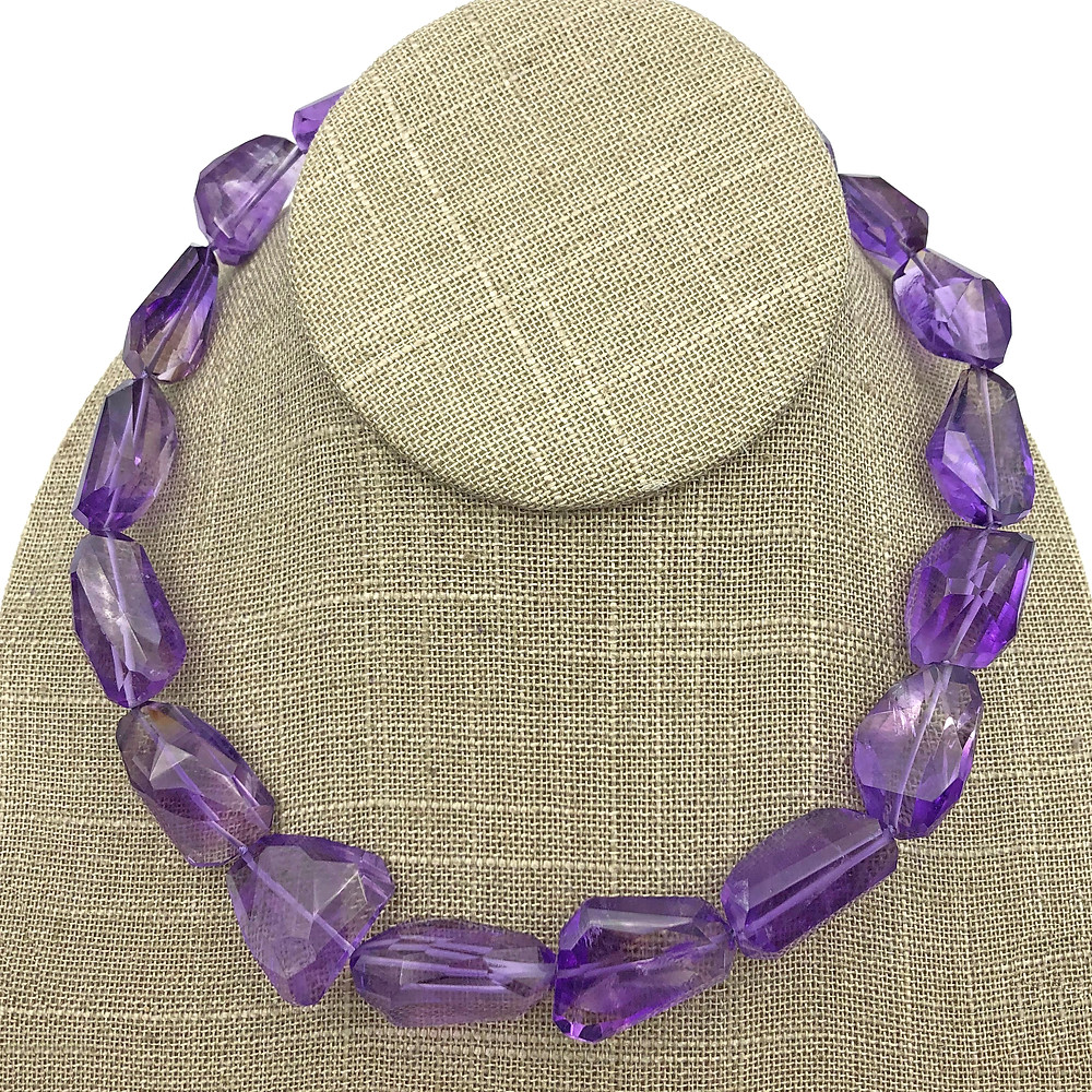 Amethyst Faceted Pebble Strand in 18k yellow gold