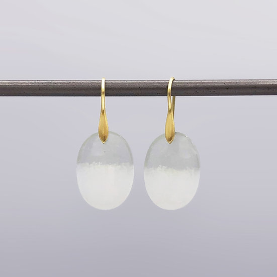 Oval Opal in Chalcedony Earrings | 18k Recycled Yellow Gold