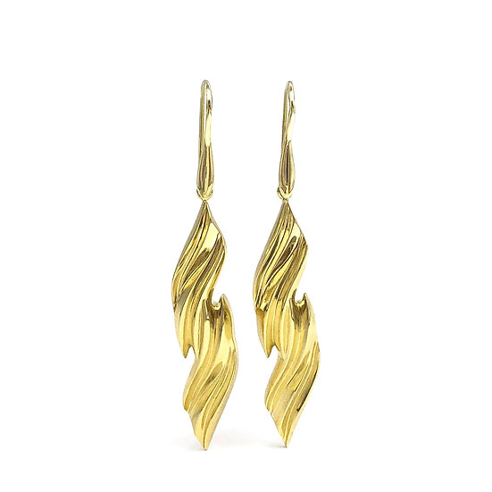 Terrace Flame Earrings in 18k Recycled Yellow Gold 1.75 inches