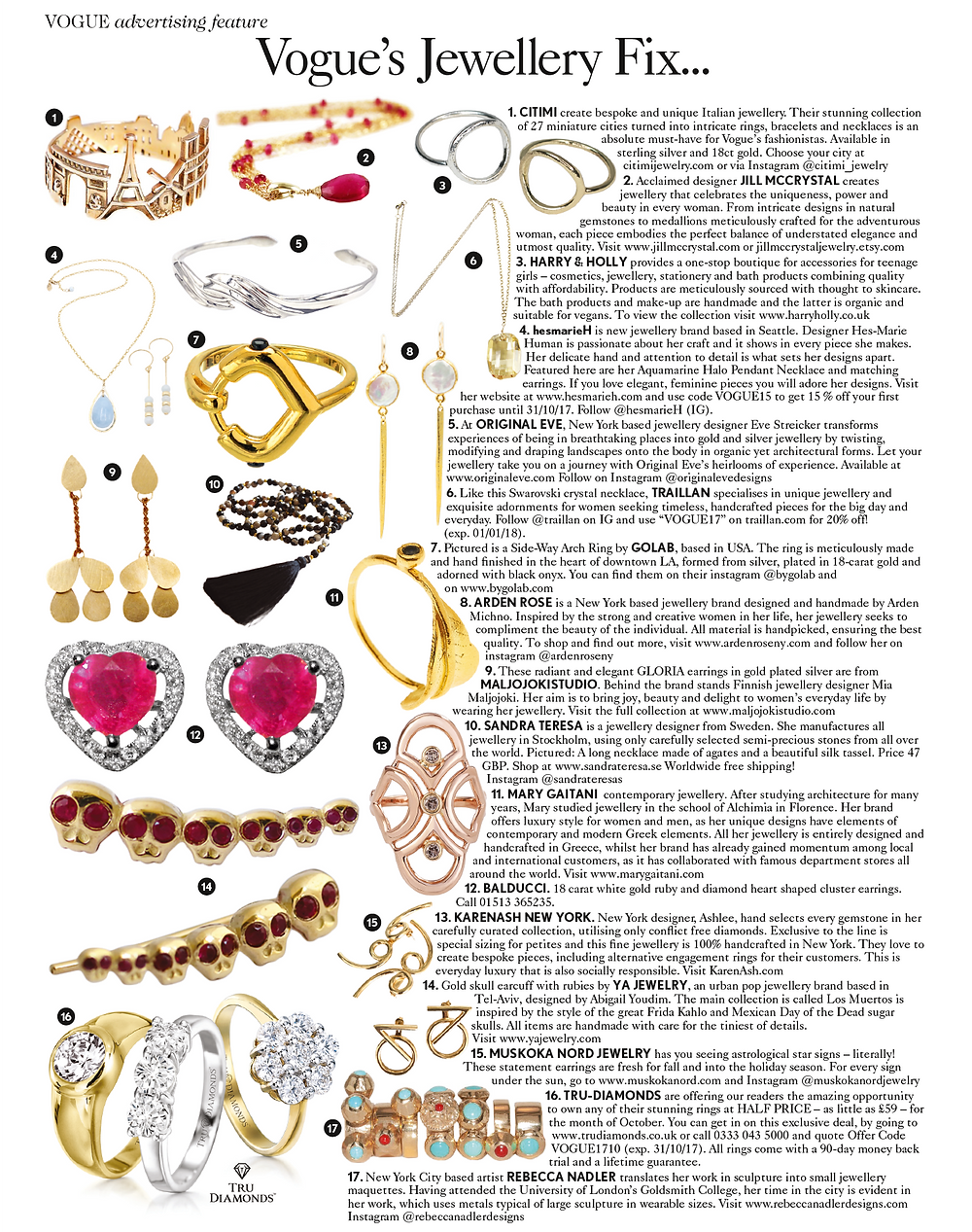 Vogue U.K. British Vogue October 2017 Original Eve Jewelry Original Eve Designs