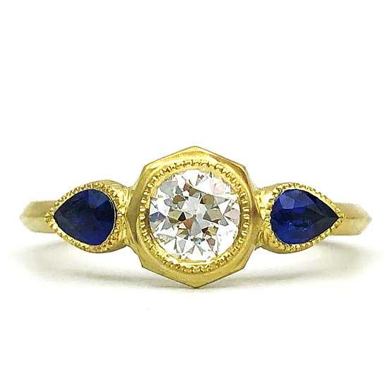 Bespoke Pear-Shaped Sapphire and Old European Cut Diamond Ring in 18k Recycled Yellow Gold with Milgrain Detail and Knifeedge