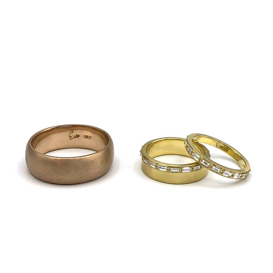 Bespoke Wedding Band Set with Brown Gold and Baguette Diamond Eternity Band Rings in 18k Yellow Gold