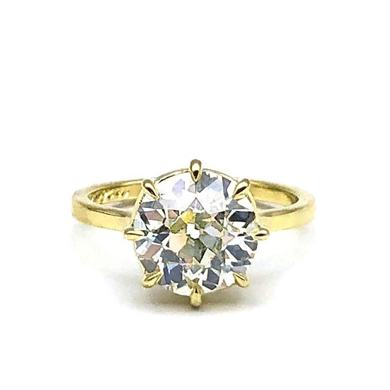 Bespoke Old European Cut Diamond Ring with 8-prongs in 18k Recycled Yellow Gold