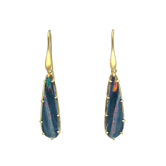 Amazon Collection Striped Australian Opal Earrings in 18k Recycled Yellow Gold with Leaf Detail Cutout