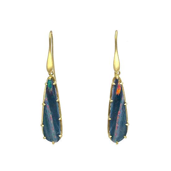 Amazon Animal Opal Earrings | 18k Yellow Gold