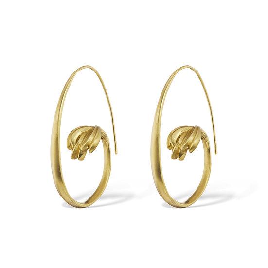 Terrace Open Hoop Earring in 18k Recycled Yellow Gold 1.6 inch diameter