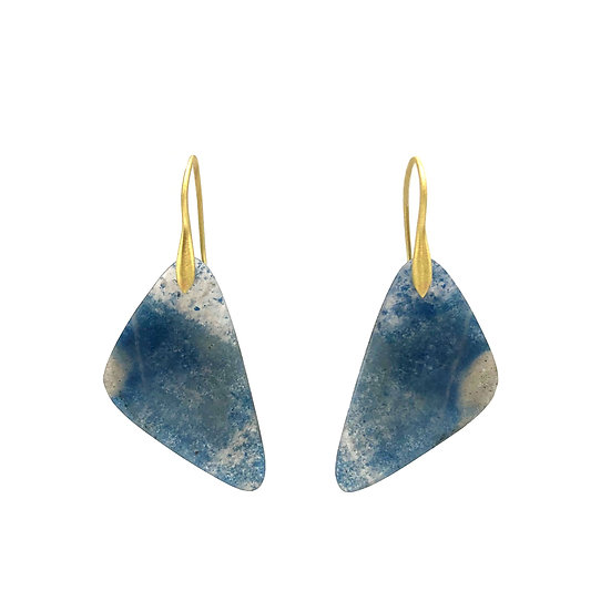 Paraiba Tourmaline in Quartz Triangle Earrings in 18k Recycled Yellow Gold