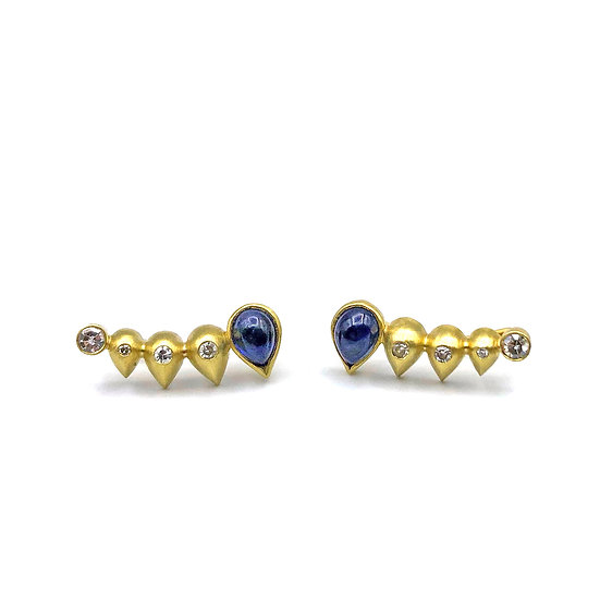 Heirloom Sapphire and Diamond Ear Crawlers in 18k Recycled Yellow Gold, Custom Jewelry Redesign