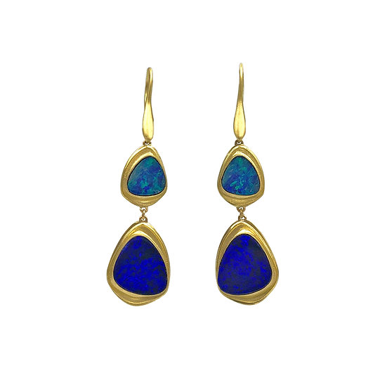 Double Drop Azores Collection Triangle Australian Blue Opal Earrings in 18k Recycled Yellow Gold