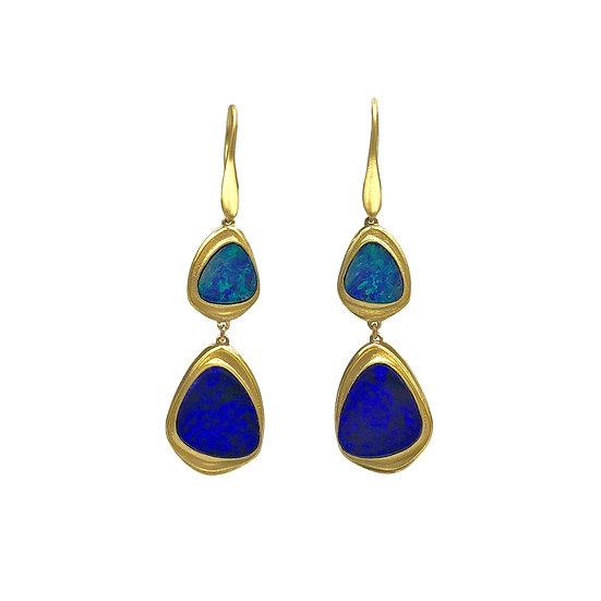 Double Drop Azores Triangle Opal Earrings | 18k Yellow Gold