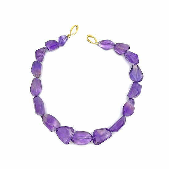 Amethyst Faceted Pebble Bead Strand Necklace | 18k Recycled Yellow Gold