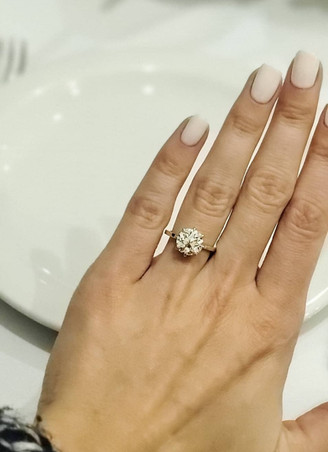 Custom Designed Old European Cut Diamond Ring in 18k Recycled Yellow Gold