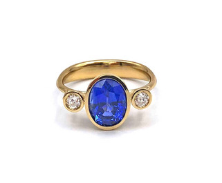 Custom Designed Ceylon Sapphire and Diamond Ring in 18k Recycled Gold
