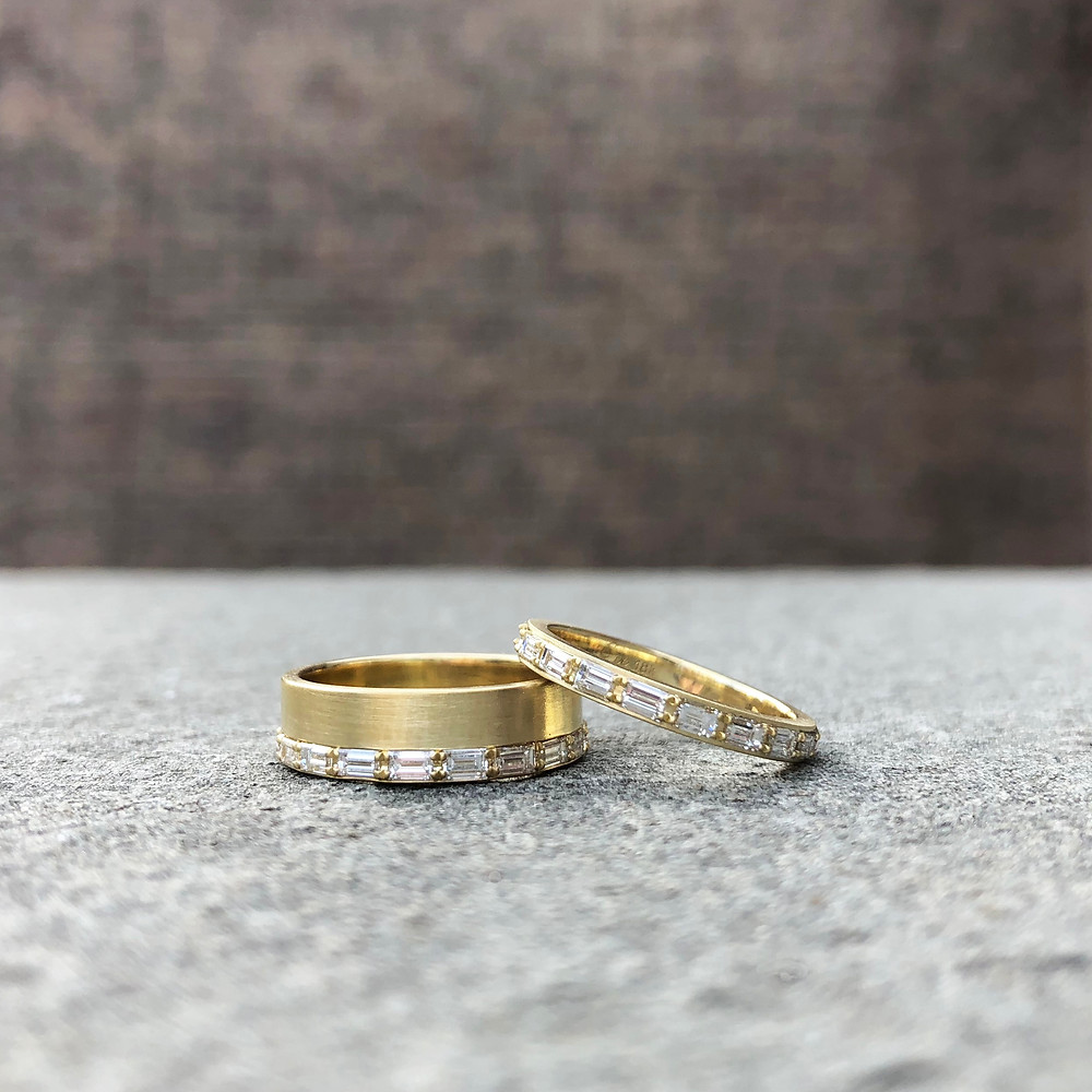 Custom Baguette Wedding Bands in 18k Yellow Recycled Gold