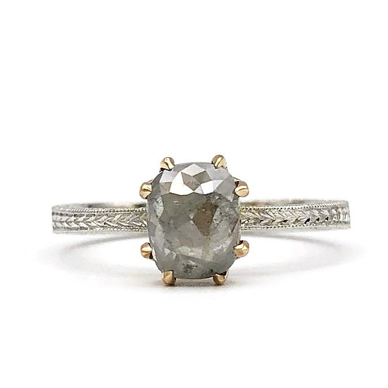 Bespoke Gray Rose Cut Diamond Engagement Ring in Rose and White Gold Wheat Pattern Engraving; Salt and Pepper Diamond Ring