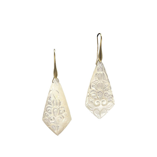 Carved Mother of Pearl Kite Earrings | 18k Yellow Gold