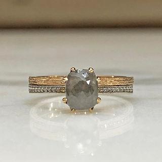 Custom Grey Diamond Engagement Ring and Wedding Band