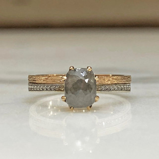 Custom Grey Diamond Engagement Ring and Wedding Band