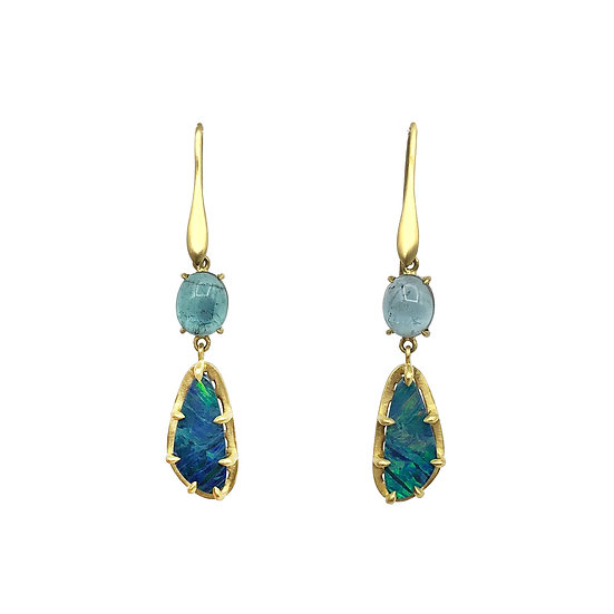 Amazon Collection Striped Australian Opal & Blue Tourmaline Earrings in 18k Recycled Yellow Gold with Leaf Detail Cutout