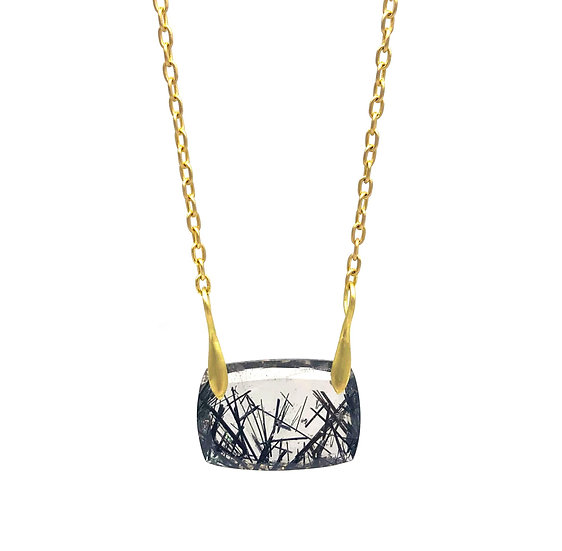 Garden Tourmalinated Quartz Necklace in 18k Recycled Yellow Gold