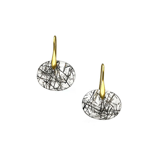 Rosecut Oval Tourmalinated Quartz Earrings in 18k Yellow Gold