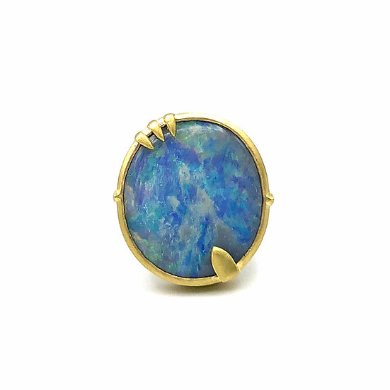 Large Round Australian Blue Opal Amazon Ring in 18k Recycled Yellow Gold