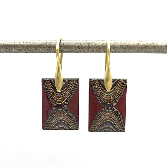 Red Fordite Earrings in 18k Recycled Yellow Gold, Detroit Agate, Motor City Agate