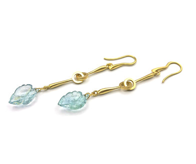 Aquamarine Carved Leaf Earrings in 18k Yellow Gold by Original Eve