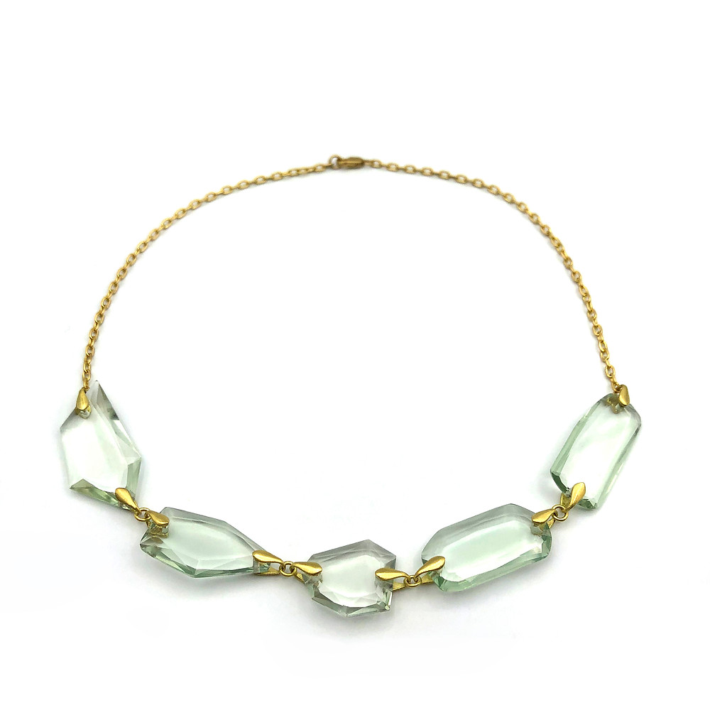 Prasiolite Faceted Slice Necklace | 18k Yellow Gold | 15.25 in
