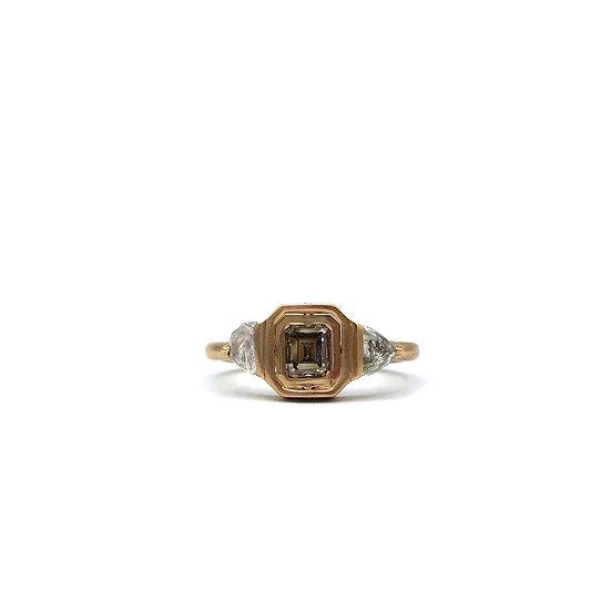 Rose Champagne Gemini Ring | Champagne Emerald Cut Diamond | 18k Rose Gold