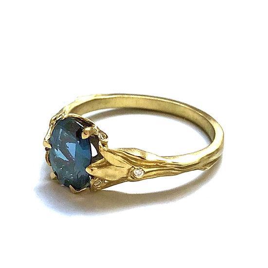 Bespoke Alexandrite Engagement Ring with Art Nouveau-Inspired Leaf Details in 18k Recycled Yellow Gold